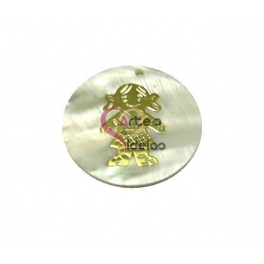 Pendente de Madrepérola Menina Dourada (30mm)