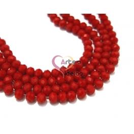 Fiada Contas de Cristal Facetadas - Opaque Red (8 x 6) - [aprox. 72 unds]