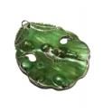 Pendente Madrepérola Folha - Verde Claro com Prateado (60x50mm)