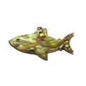 Pendente Madrepérola Tubarão - Amarelo com Dourado (40x65mm)