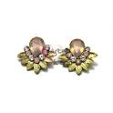 Brincos Flor Leque Rosa Opal - Dourado