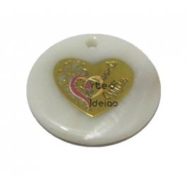 Pendente de Madrepérola Coração Adoro-te Mãe Dourado (28 mm)