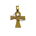 Pendente Aço Inox Cruz Chave do Nilo - Dourado (35x25mm)