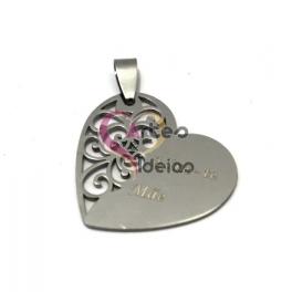 Pendente Aço Inox Coração Adoro-te Mãe (2) - Prateado (30mm)