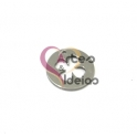 Pendente Aço Inox Medalhinha Recorte Trevo - Prateado (15mm)