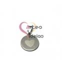 Pendente Aço Inox Medalhinha Coração - Prateado (15mm)