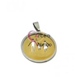 Pendente Aço Inox Familia [Pai, Filha e Mãe] - Prateado com Dourado (30mm)