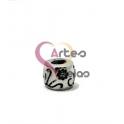 Conta Aço Inox Flores e Relevos - Prateado (4mm)