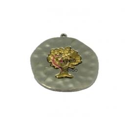 Pendente Metal Medalha com Árvore - Prateado com Dourado (45mm)