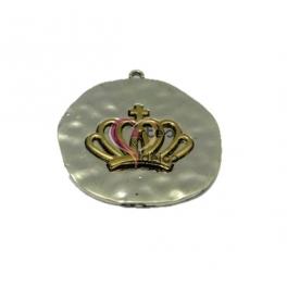 Pendente Metal Medalha com Coroa - Prateado com Dourado (45mm)