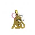 Pendente Aço Inox Gato Flores - Dourado (32x23mm)