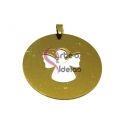 Pendente Aço Inox Recorte Anjo - Dourado (50mm)