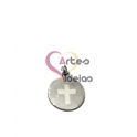 Pendente Aço Inox Medalhinha Cruz - Prateado (15mm)
