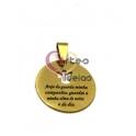 Pendente Aço Inox Recorte Anjinho com Oração a Preto - Dourado (25 mm)