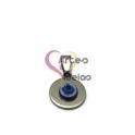 Pendente Aço Inox Medalhinha com Olho Turco - Prateado (16 mm)