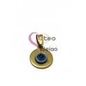 Pendente Aço Inox Medalhinha com Olho Turco - Dourado (16 mm)