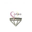 Pendente Aço Inox Diamante - Prateado (15x17mm)