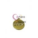 Pendente Aço Inox Medalhinha Recorte Luck - Dourado (15mm)