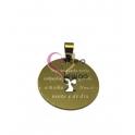 Pendente Aço Inox Anjo da Guarda com Oração (B) - Dourado (30mm)