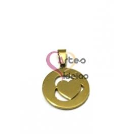 Pendente Aço Inox Coração Duplo - Dourado (20mm)