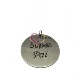 Pendente Aço Inox Escovado Super Pai - Prateado (35mm)