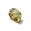 Anel Aço Lírio - Dourado com Prateado