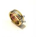 Anel Aço Inox Gaura - Dourado com Prateado