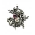 Pendente Metal Etnic Pearl - Prateado (65x56mm)