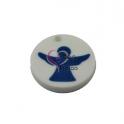 Pendente Acrílico Branco com Anjo Azul (30mm)