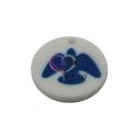 Pendente Acrílico Branco com Pomba Azul (30mm)