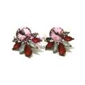 Brincos Cristal com Leque - Rosa e Vermelho Coral