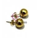 Brincos Bolinhas de Aço Lisas de 8 mm - Douradas