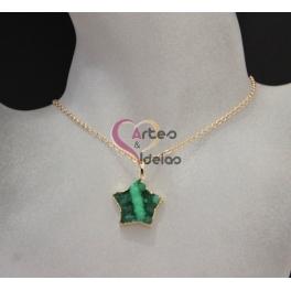 Fio Estrela Druzy - Verde (Dourado)