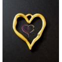 Pendente Zamak Coração Tosco - Dourado Mate (78x68)