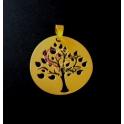 Pendente Zamak Árvore da Vida Recortes - Dourado Mate (60mm)