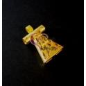 Pendente Zamak Vestido Recorte Flores - Dourado Mate (50x30)