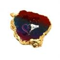 Pendente Geode Grande Tri-Color com Dourado (60 a 80mm)