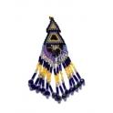 Pendente Tribal Missangas - Azuis e Amarelos (90x25)
