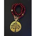 Colar Pedras com Àrvore da Vida Zamak - Garnet com Dourado Mate