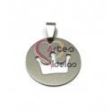 Pendente Aço Inox Medalhinha Recorte Coroa - Prateado (25mm)