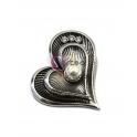 Pendente Metal Coração com Pérola - Prateado (55mm)
