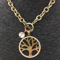 Colar Aço Inox Medalhão Árvore da Vida - Dourado