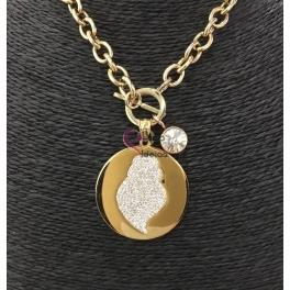 Colar Aço Inox Medalhão Coração de Viana Brilhantes - Dourado