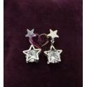 Brincos Aço Estrelas com Cristal - Prateado