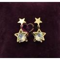 Brincos Aço Estrelas com Cristal - Dourado