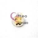 Pendente Aço Inox Medalhinha Ursinho Sobreposto - Prateado e Dourado (12mm)