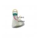 Pompom de Seda com Argola - Branco com Verde (20 mm)