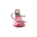 Pompom de Seda com Argola - Rosa Clarinho com Verde (20 mm)