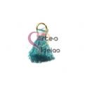 Pompom de Seda com Argola - Azul Esverdeado com Rosa Claro (20 mm)