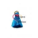 Pompom de Seda com Argola - Azul com Fuchsia (20 mm)